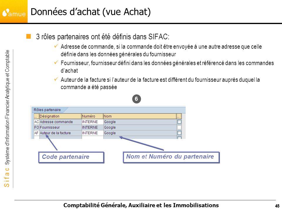S i f a c Système dInformation Financier Analytique et Comptable Comptabilité Générale, Auxiliaire et les Immobilisations 45 Données dachat (vue Achat