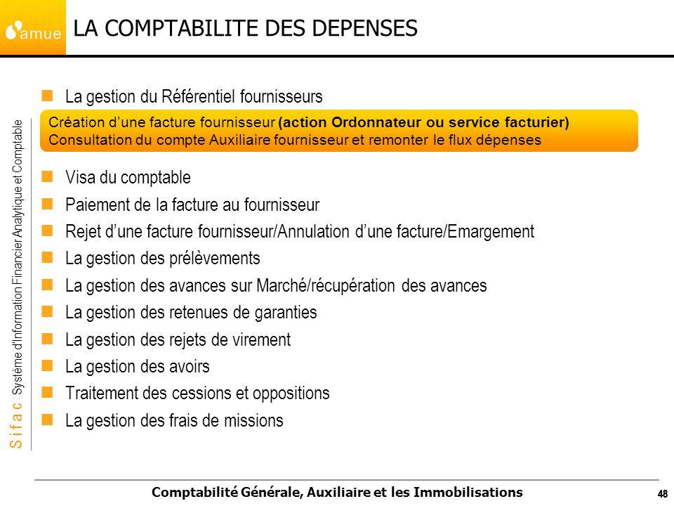 S i f a c Système dInformation Financier Analytique et Comptable Comptabilité Générale, Auxiliaire et les Immobilisations 48 LA COMPTABILITE DES DEPEN