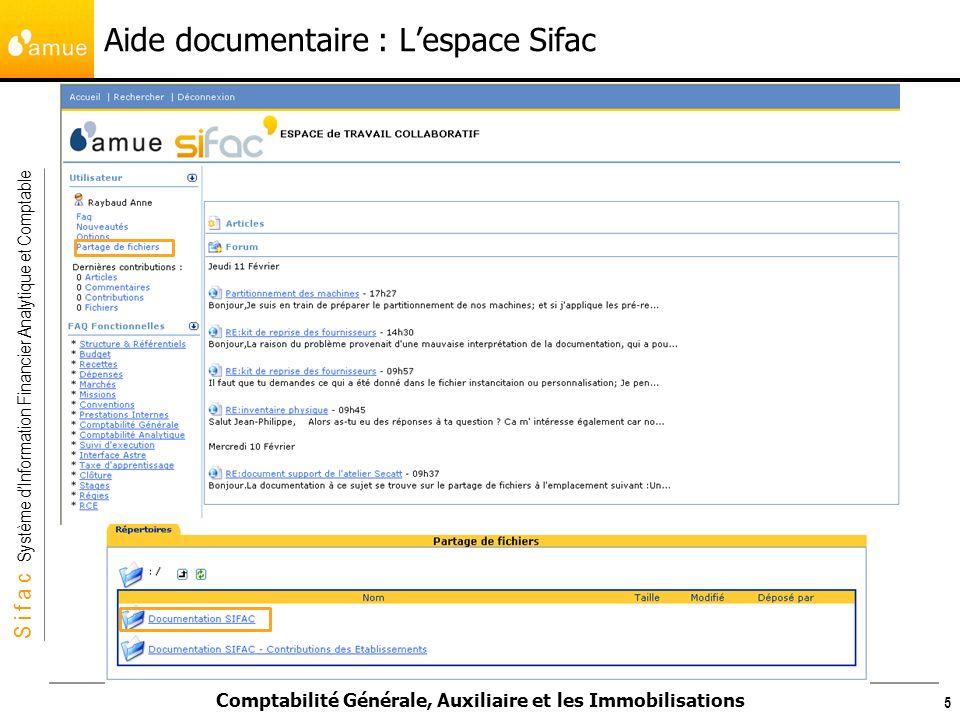 S i f a c Système dInformation Financier Analytique et Comptable Comptabilité Générale, Auxiliaire et les Immobilisations Aide documentaire : Lespace Sifac 6