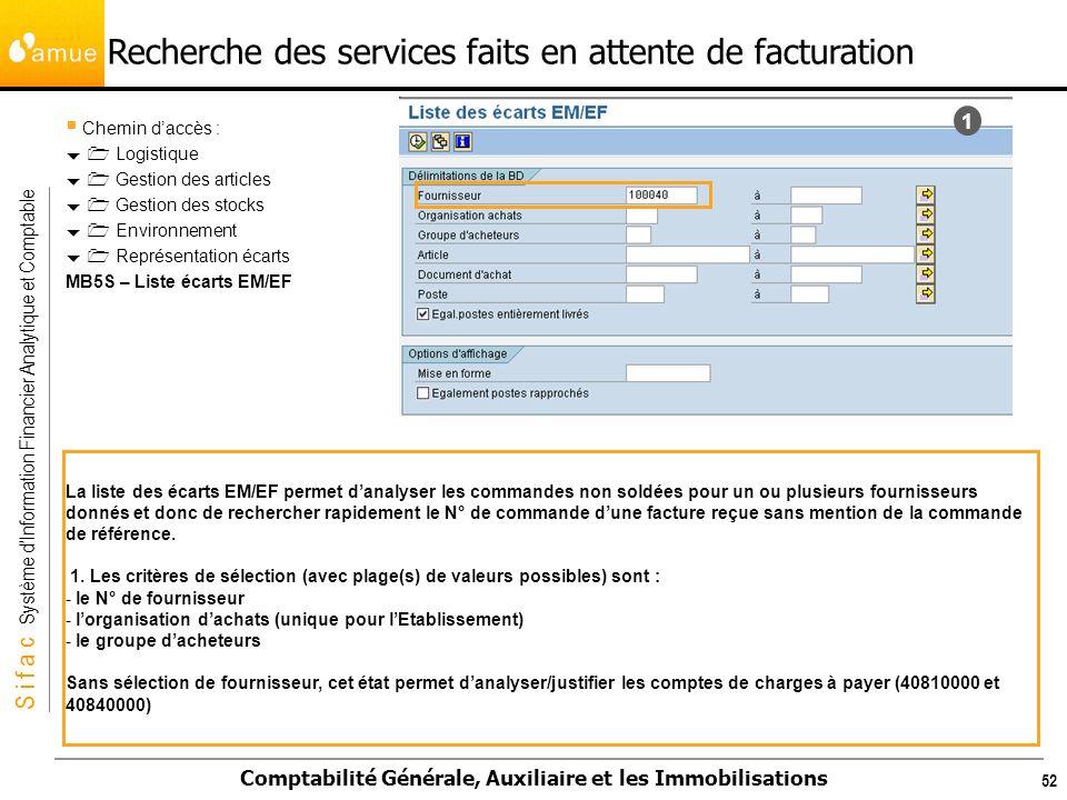 S i f a c Système dInformation Financier Analytique et Comptable Comptabilité Générale, Auxiliaire et les Immobilisations 52 Recherche des services fa