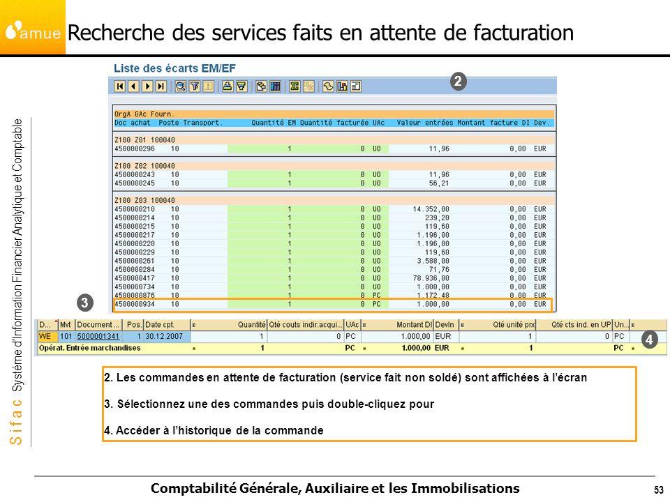 S i f a c Système dInformation Financier Analytique et Comptable Comptabilité Générale, Auxiliaire et les Immobilisations 53 2 3 4 2. Les commandes en