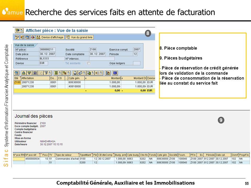 S i f a c Système dInformation Financier Analytique et Comptable Comptabilité Générale, Auxiliaire et les Immobilisations 55 8 9 8. Pièce comptable 9.