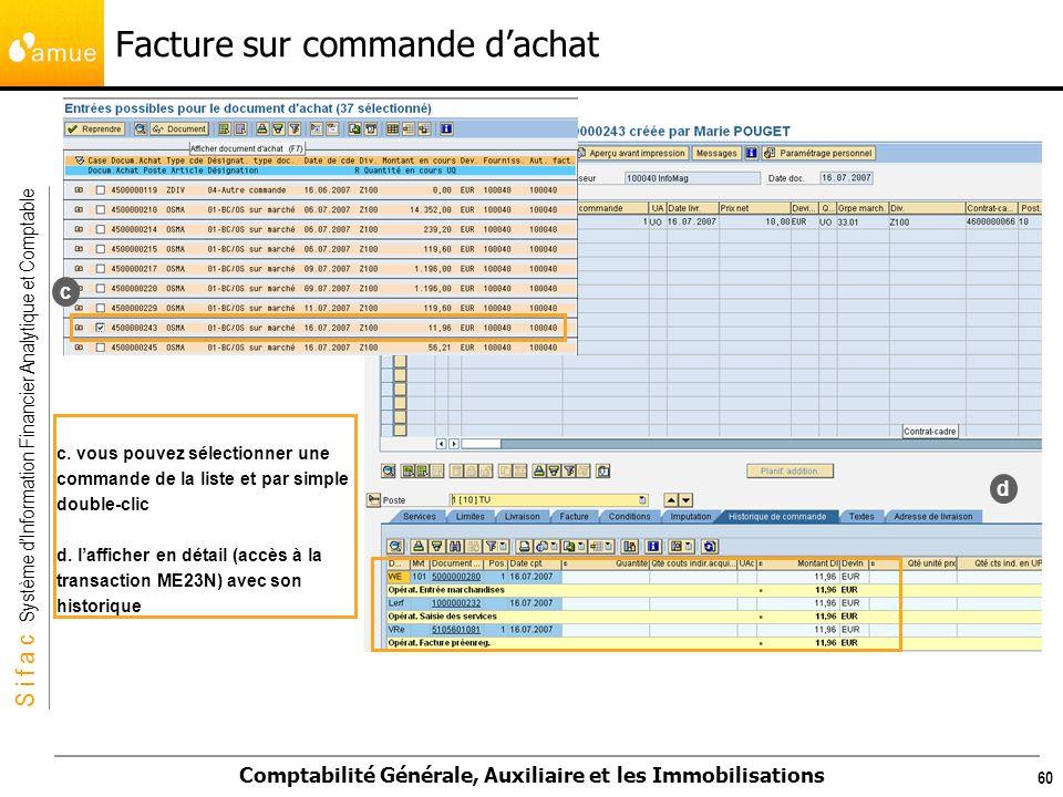 S i f a c Système dInformation Financier Analytique et Comptable Comptabilité Générale, Auxiliaire et les Immobilisations 60 c. vous pouvez sélectionn