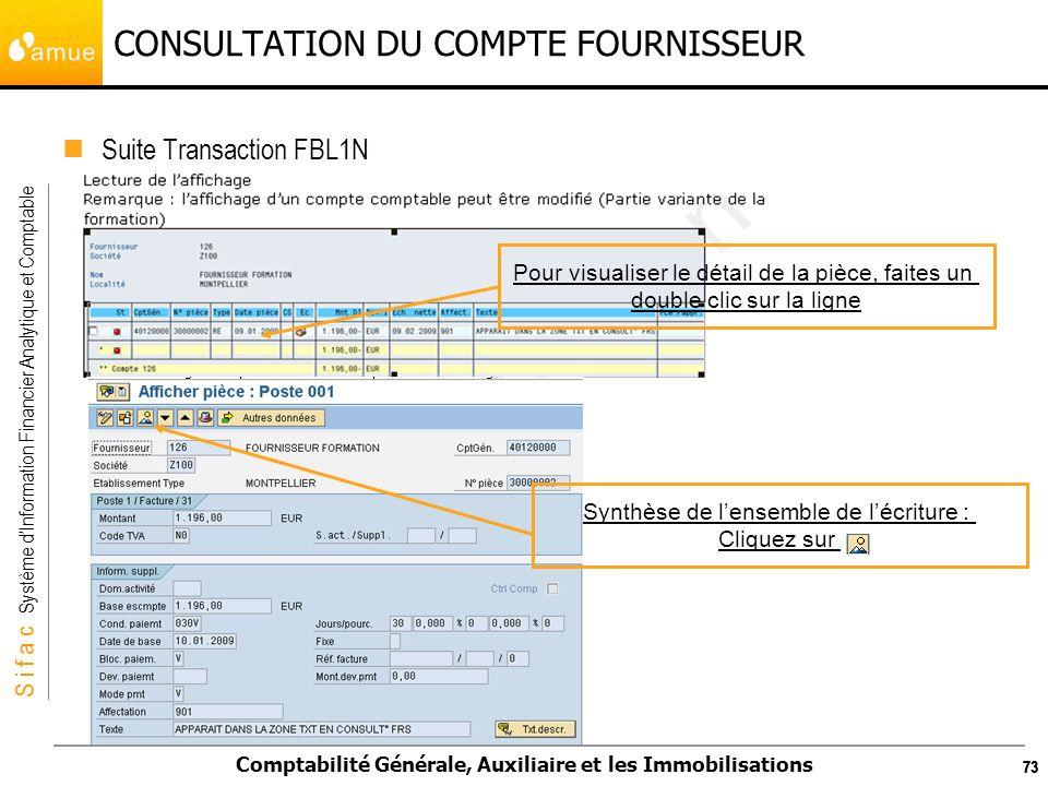 S i f a c Système dInformation Financier Analytique et Comptable Comptabilité Générale, Auxiliaire et les Immobilisations 73 CONSULTATION DU COMPTE FO