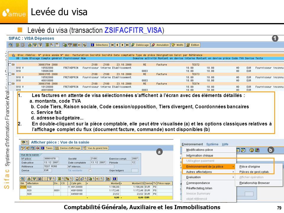 S i f a c Système dInformation Financier Analytique et Comptable Comptabilité Générale, Auxiliaire et les Immobilisations 79 1.Les factures en attente