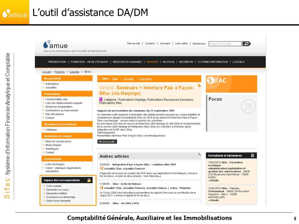 S i f a c Système dInformation Financier Analytique et Comptable Comptabilité Générale, Auxiliaire et les Immobilisations Loutil dassistance DA/DM 8