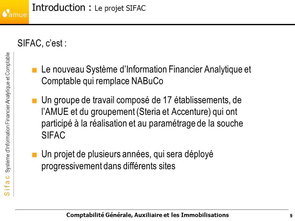S i f a c Système dInformation Financier Analytique et Comptable Comptabilité Générale, Auxiliaire et les Immobilisations 60 c.