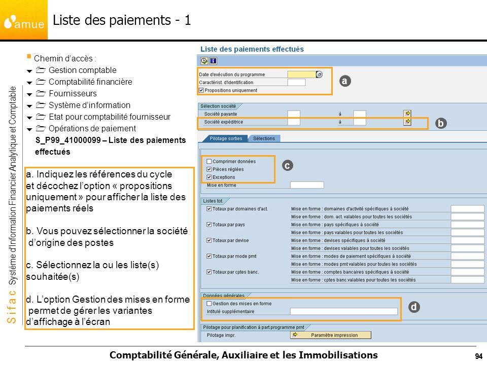 S i f a c Système dInformation Financier Analytique et Comptable Comptabilité Générale, Auxiliaire et les Immobilisations 94 Liste des paiements - 1 C
