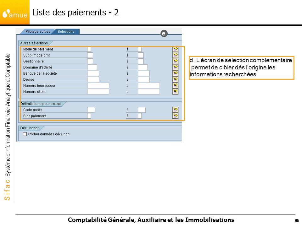 S i f a c Système dInformation Financier Analytique et Comptable Comptabilité Générale, Auxiliaire et les Immobilisations 95 Liste des paiements - 2 e