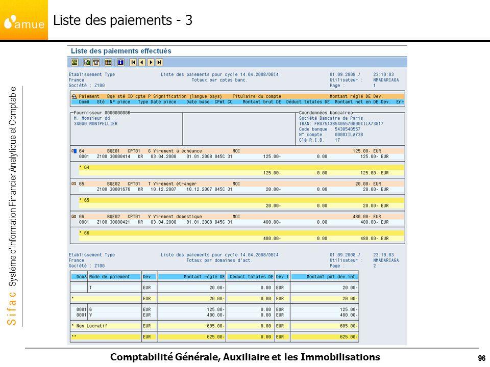 S i f a c Système dInformation Financier Analytique et Comptable Comptabilité Générale, Auxiliaire et les Immobilisations 96 Liste des paiements - 3