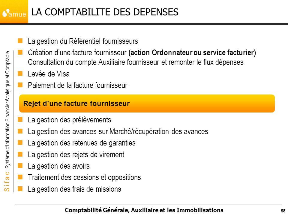S i f a c Système dInformation Financier Analytique et Comptable Comptabilité Générale, Auxiliaire et les Immobilisations 98 LA COMPTABILITE DES DEPEN