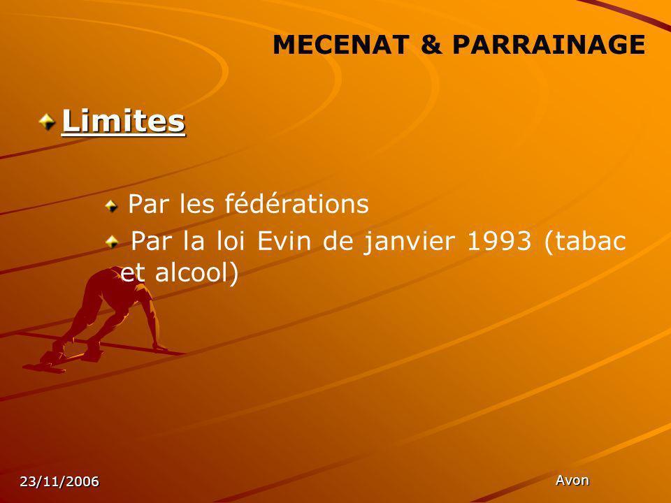 23/11/2006 Avon MECENAT & PARRAINAGE Limites Par les fédérations Par la loi Evin de janvier 1993 (tabac et alcool)