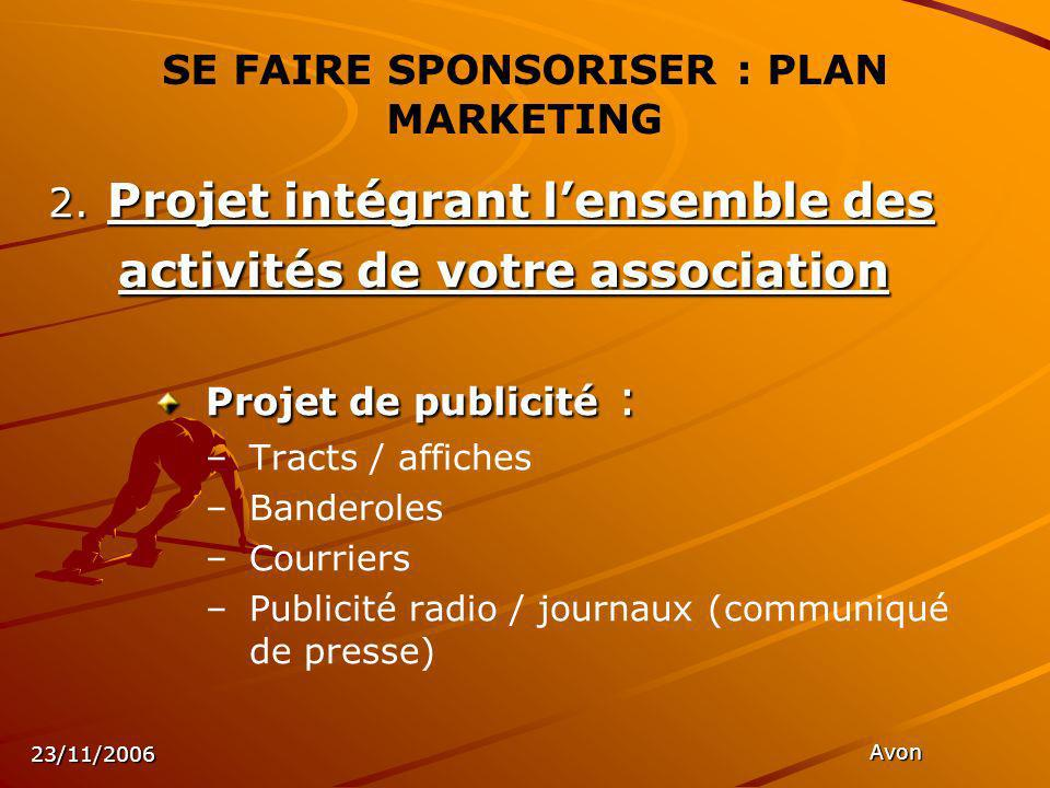 23/11/2006 Avon SE FAIRE SPONSORISER : PLAN MARKETING 2.