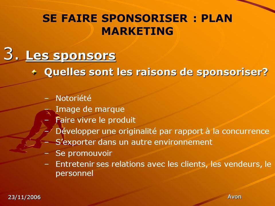 23/11/2006 Avon SE FAIRE SPONSORISER : PLAN MARKETING 3.