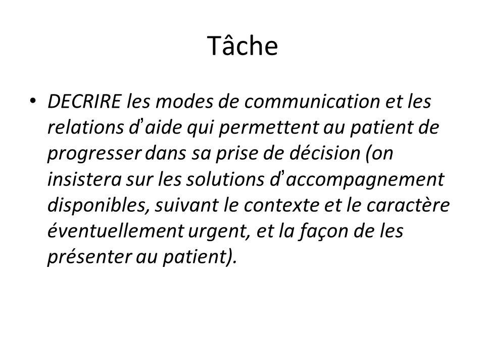 Tâche DECRIRE les modes de communication et les relations d aide qui permettent au patient de progresser dans sa prise de décision (on insistera sur l