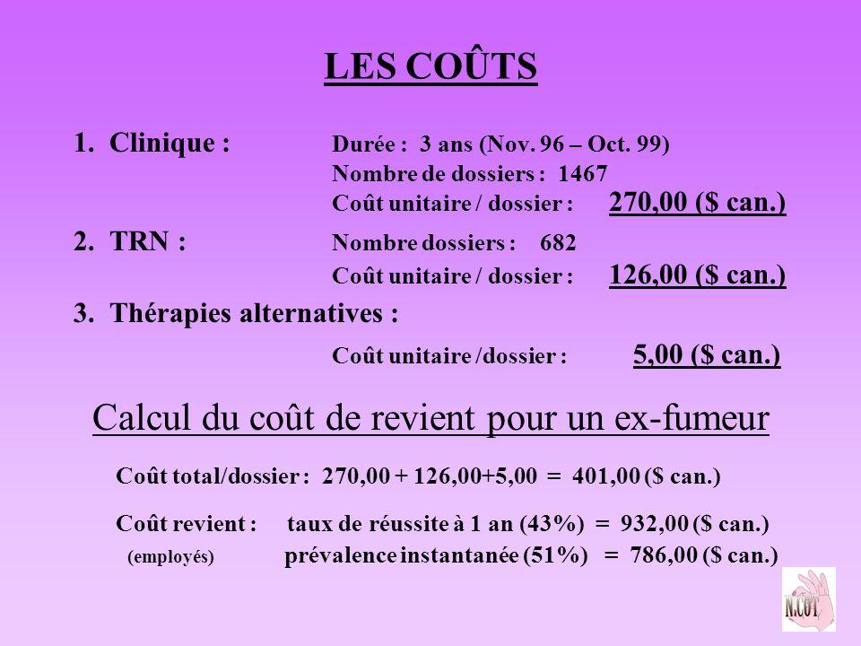LES COÛTS 1. Clinique : Durée : 3 ans (Nov. 96 – Oct. 99) Nombre de dossiers : 1467 Coût unitaire / dossier : 270,00 ($ can.) 2. TRN : Nombre dossiers