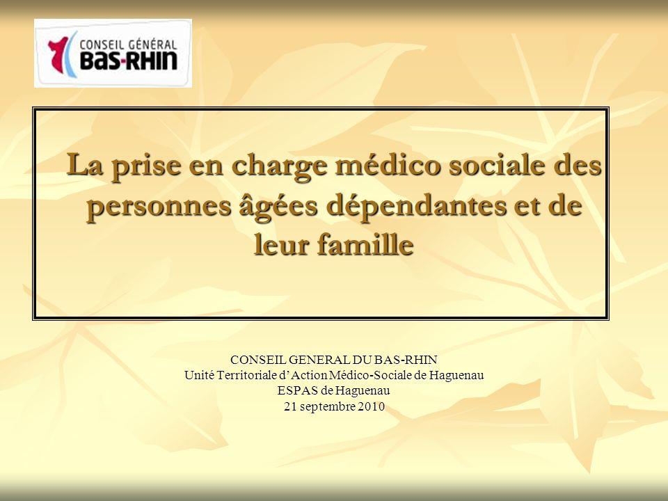 CONSEIL GENERAL DU BAS-RHIN Unité Territoriale dAction Médico-Sociale de Haguenau ESPAS de Haguenau 21 septembre 2010 La prise en charge médico social
