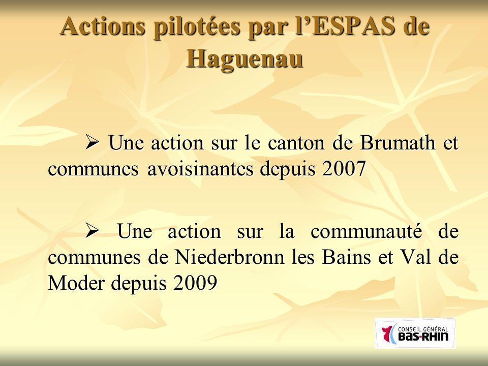 Actions pilotées par lESPAS de Haguenau Une action sur le canton de Brumath et communes avoisinantes depuis 2007 Une action sur le canton de Brumath e