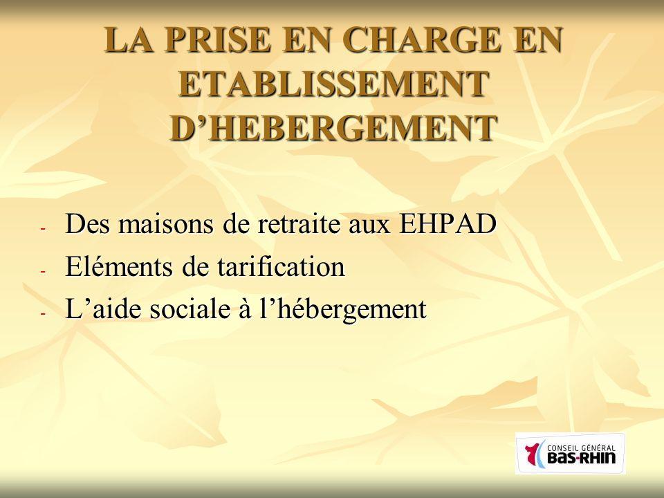 LA PRISE EN CHARGE EN ETABLISSEMENT DHEBERGEMENT - Des maisons de retraite aux EHPAD - Eléments de tarification - Laide sociale à lhébergement