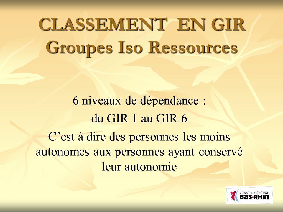 CLASSEMENT EN GIR Groupes Iso Ressources 6 niveaux de dépendance : du GIR 1 au GIR 6 Cest à dire des personnes les moins autonomes aux personnes ayant