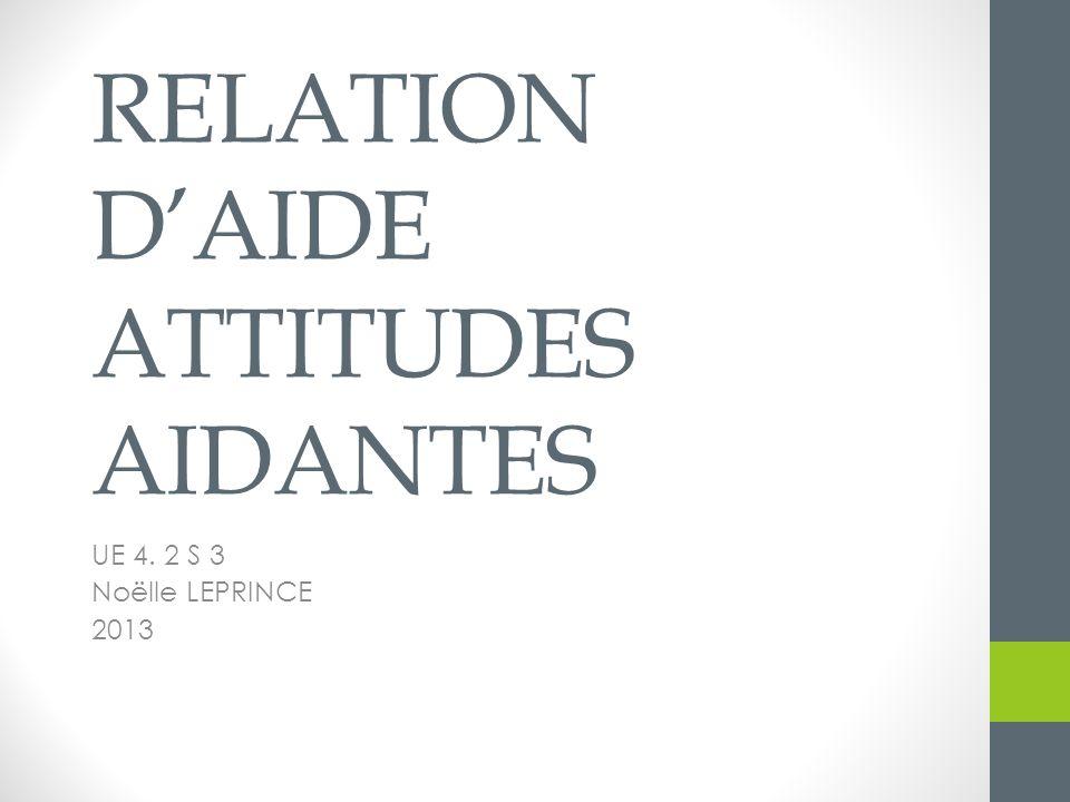 RELATION DAIDE ATTITUDES AIDANTES UE 4. 2 S 3 Noëlle LEPRINCE 2013