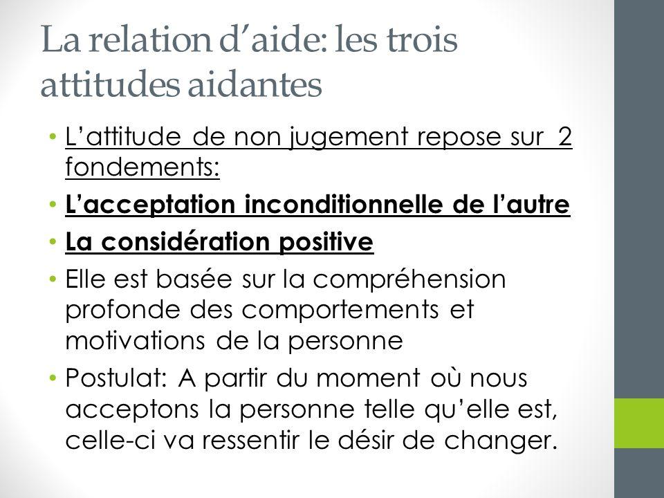 La relation daide: les trois attitudes aidantes Lattitude de non jugement repose sur 2 fondements: Lacceptation inconditionnelle de lautre La considér