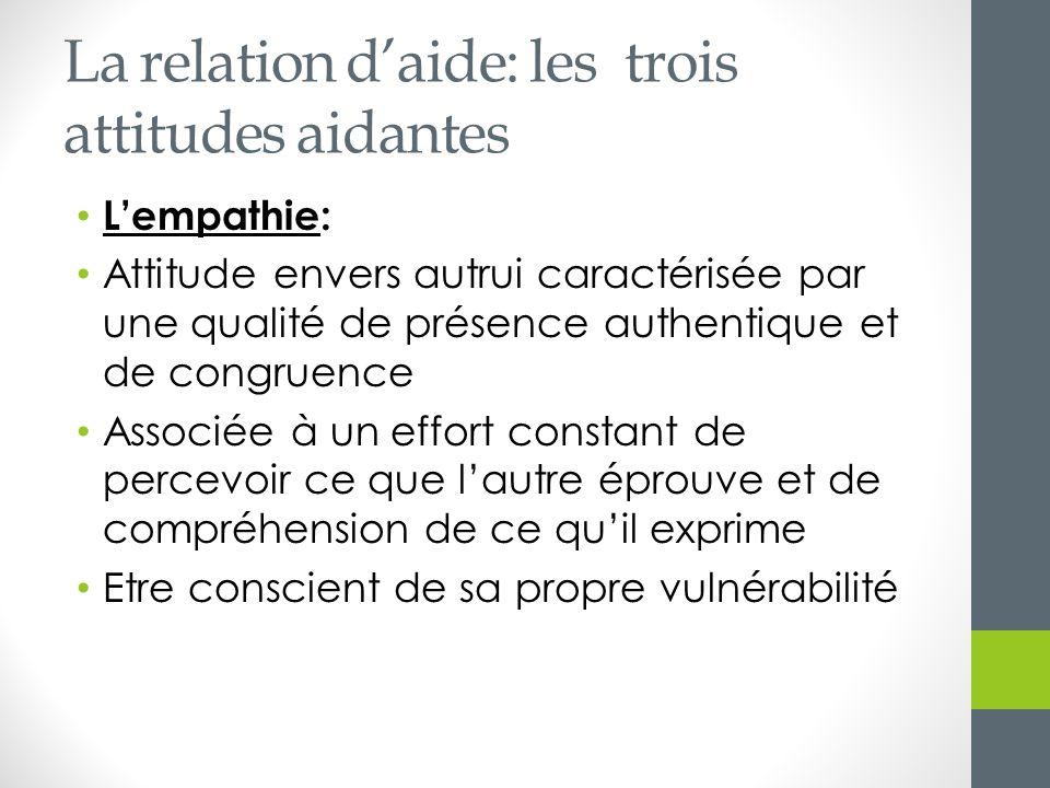 La relation daide: les trois attitudes aidantes Lempathie: Attitude envers autrui caractérisée par une qualité de présence authentique et de congruenc