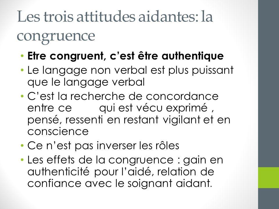 Les trois attitudes aidantes: la congruence Etre congruent, cest être authentique Le langage non verbal est plus puissant que le langage verbal Cest l