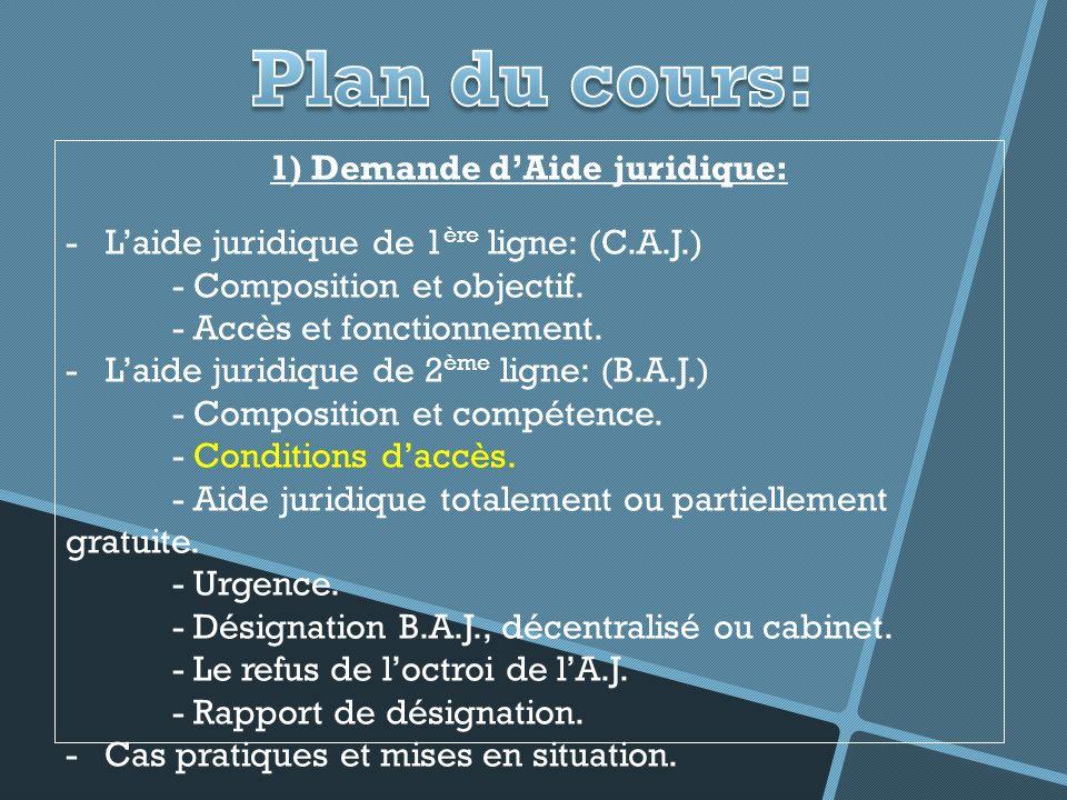 1) Demande dAide juridique: -Laide juridique de 1 ère ligne: (C.A.J.) - Composition et objectif.