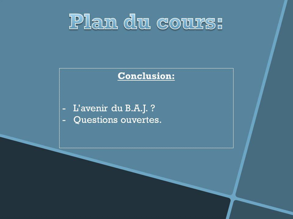 Conclusion: -Lavenir du B.A.J. ? -Questions ouvertes.