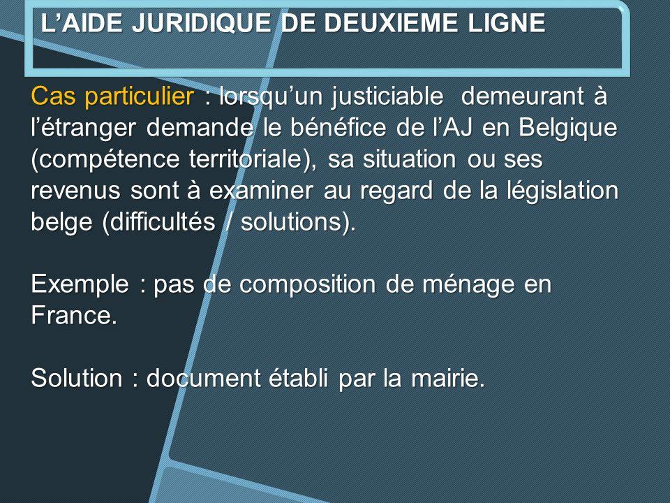 Cas particulier : lorsquun justiciable demeurant à létranger demande le bénéfice de lAJ en Belgique (compétence territoriale), sa situation ou ses revenus sont à examiner au regard de la législation belge (difficultés / solutions).