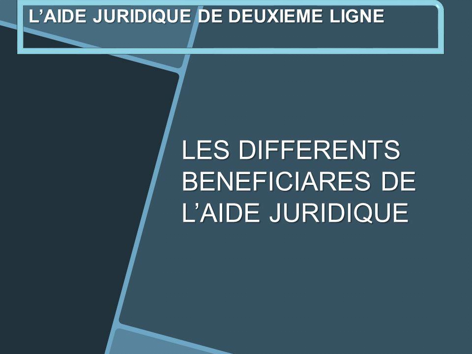 LES DIFFERENTS BENEFICIARES DE LAIDE JURIDIQUE LAIDE JURIDIQUE DE DEUXIEME LIGNE