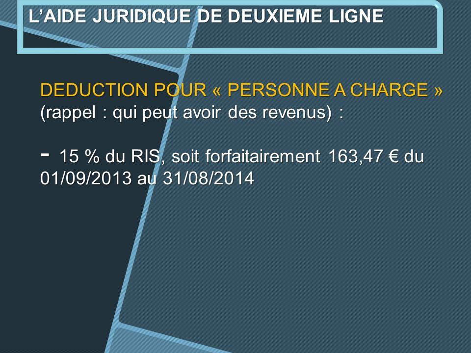 DEDUCTION POUR « PERSONNE A CHARGE » (rappel : qui peut avoir des revenus) : - 15 % du RIS, soit forfaitairement 163,47 du 01/09/2013 au 31/08/2014 LAIDE JURIDIQUE DE DEUXIEME LIGNE
