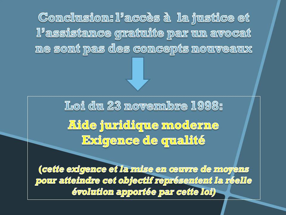 ASSISTANCE JUDICIAIRE: UNE EXIGENCE INTERNATIONALE: Article 23 Constitution belge.