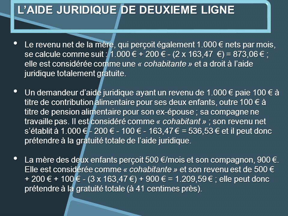 Le revenu net de la mère, qui perçoit également 1.000 nets par mois, se calcule comme suit : 1.000 + 200 - (2 x 163,47 ) = 873,06 ; elle est considérée comme une « cohabitante » et a droit à laide juridique totalement gratuite.