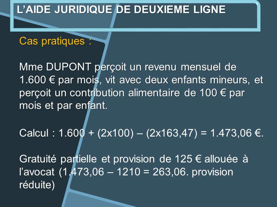Cas pratiques : Mme DUPONT perçoit un revenu mensuel de 1.600 par mois, vit avec deux enfants mineurs, et perçoit un contribution alimentaire de 100 par mois et par enfant.