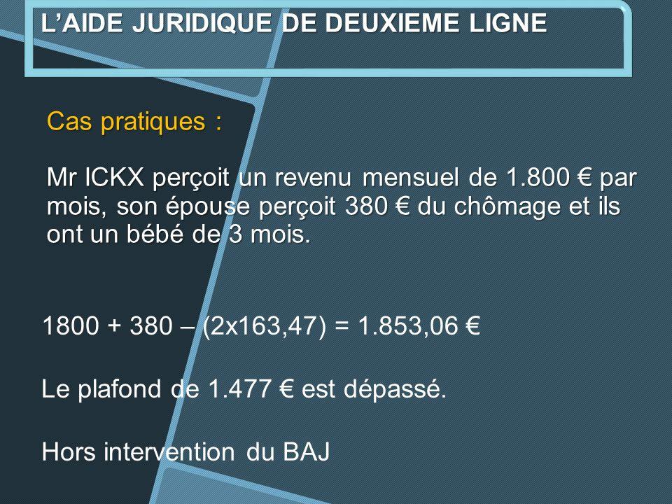 Cas pratiques : Mr ICKX perçoit un revenu mensuel de 1.800 par mois, son épouse perçoit 380 du chômage et ils ont un bébé de 3 mois.