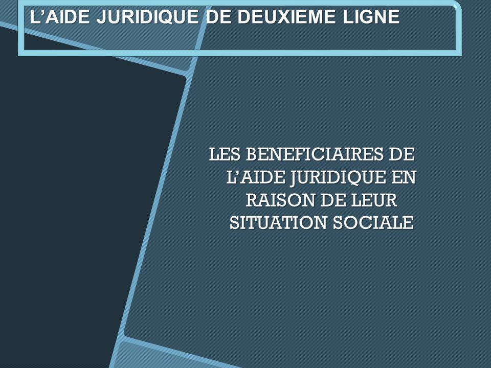 LES BENEFICIAIRES DE LAIDE JURIDIQUE EN RAISON DE LEUR SITUATION SOCIALE LAIDE JURIDIQUE DE DEUXIEME LIGNE