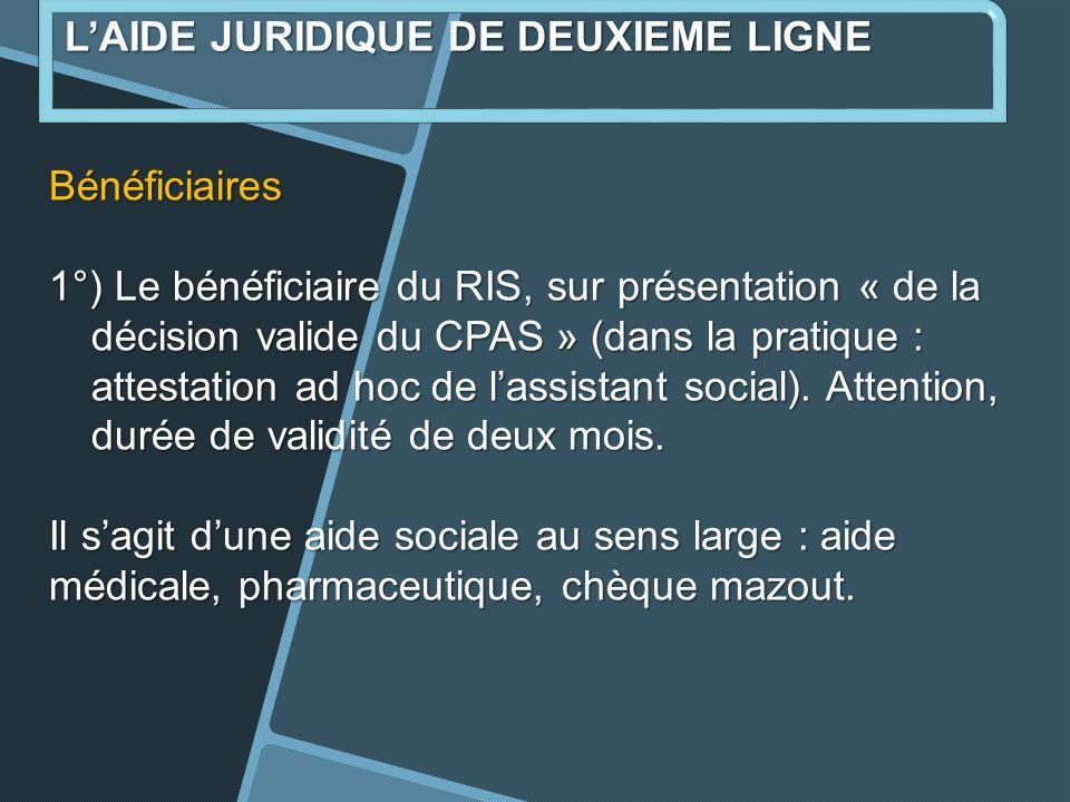 Bénéficiaires 1°) Le bénéficiaire du RIS, sur présentation « de la décision valide du CPAS » (dans la pratique : attestation ad hoc de lassistant social).
