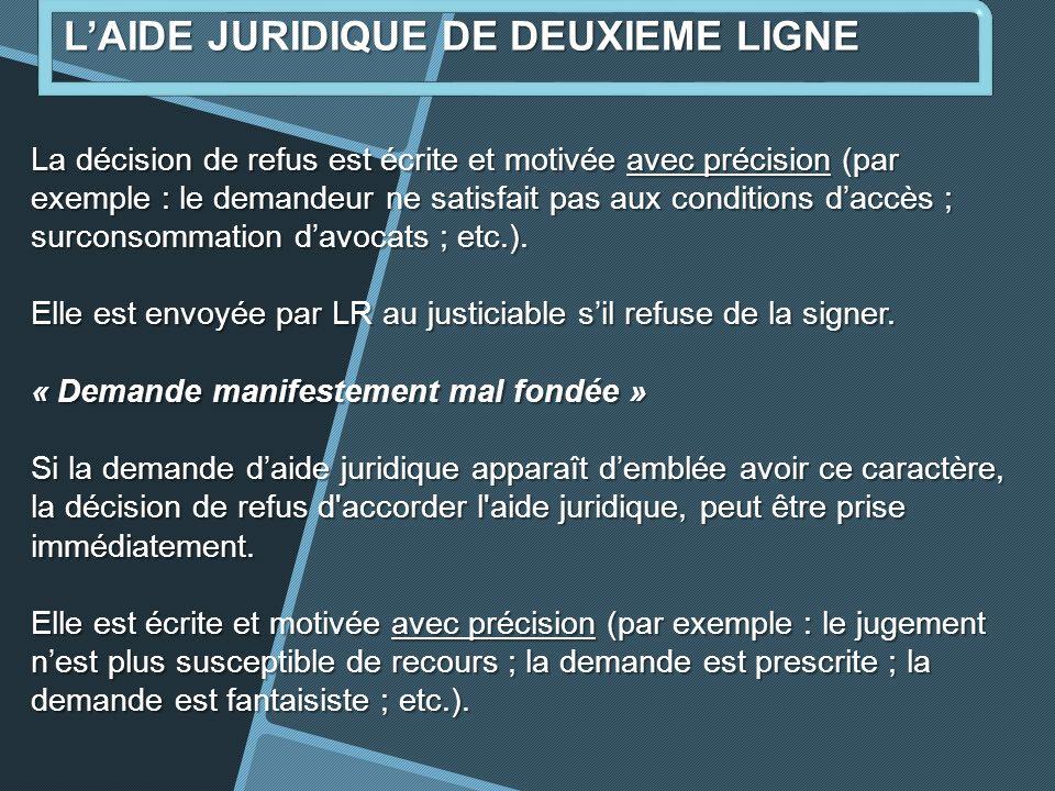 La décision de refus est écrite et motivée avec précision (par exemple : le demandeur ne satisfait pas aux conditions daccès ; surconsommation davocats ; etc.).