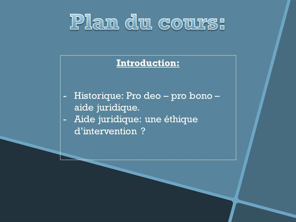 Introduction: -Historique: Pro deo – pro bono – aide juridique.