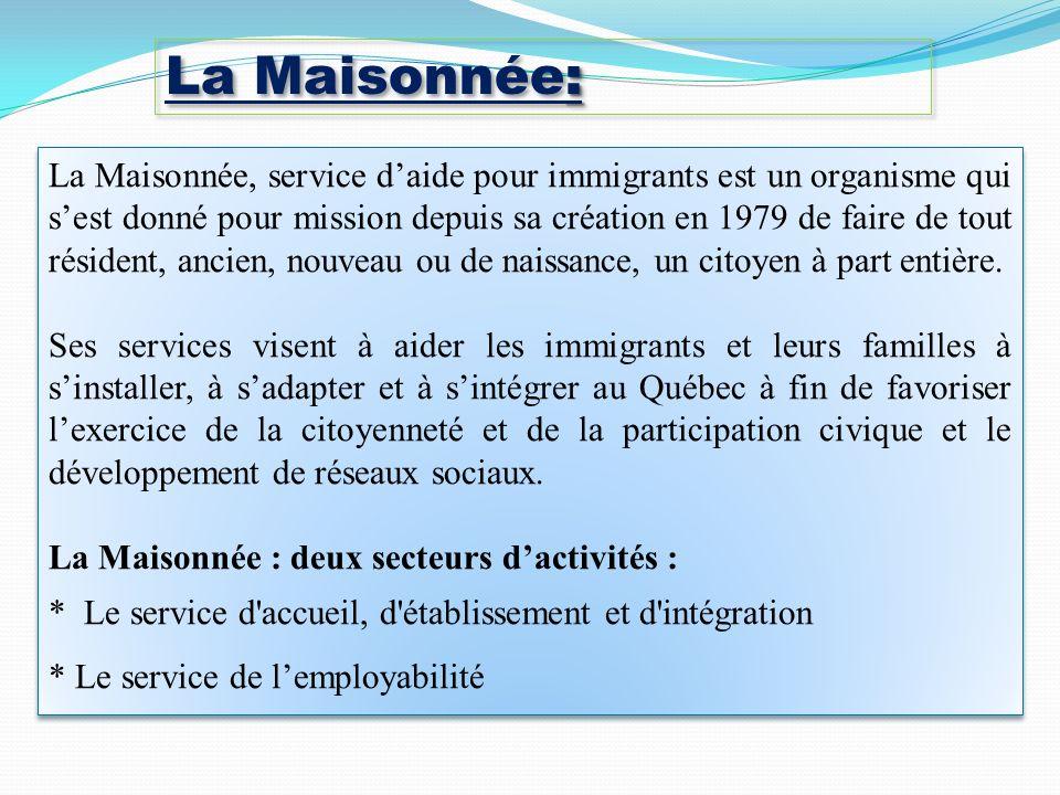 : La Maisonnée: La Maisonnée, service daide pour immigrants est un organisme qui sest donné pour mission depuis sa création en 1979 de faire de tout résident, ancien, nouveau ou de naissance, un citoyen à part entière.