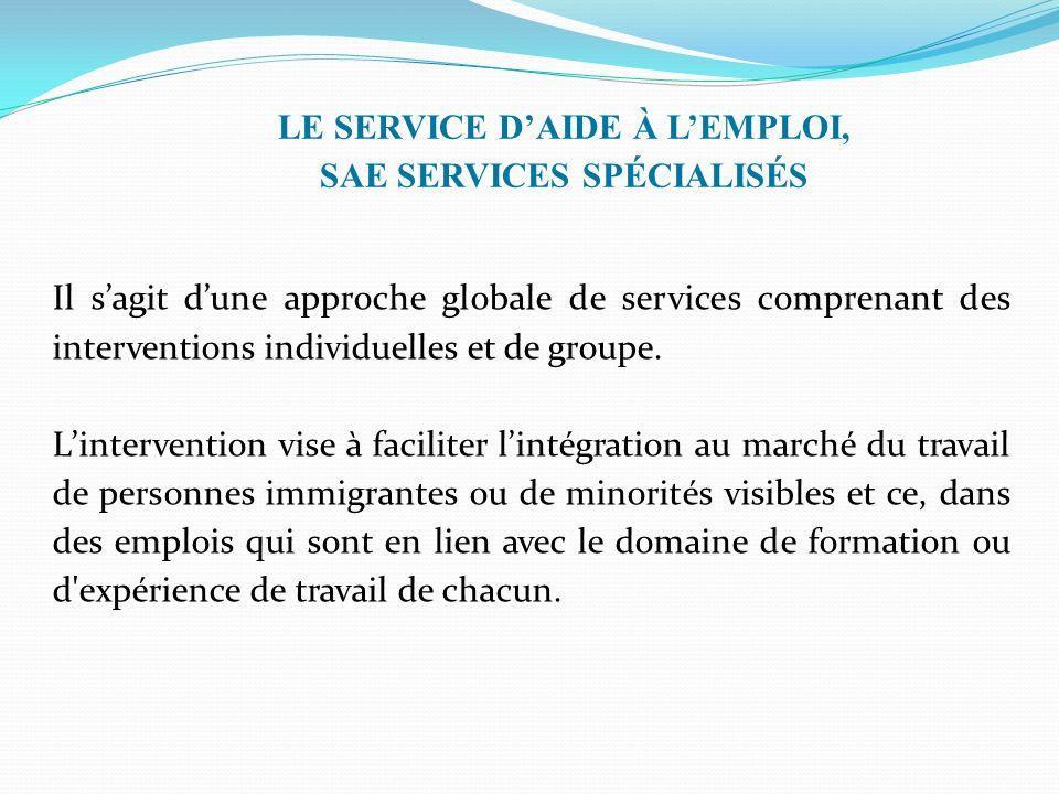 LE SERVICE DAIDE À LEMPLOI, SAE SERVICES SPÉCIALISÉS Il sagit dune approche globale de services comprenant des interventions individuelles et de groupe.