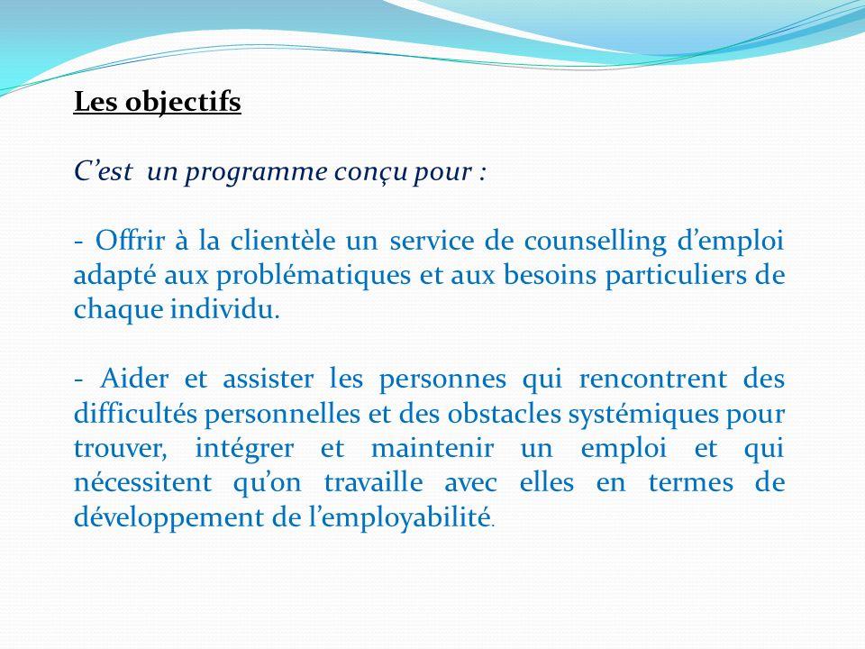 Les objectifs Cest un programme conçu pour : - Offrir à la clientèle un service de counselling demploi adapté aux problématiques et aux besoins particuliers de chaque individu.