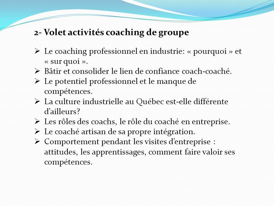 2- Volet activités coaching de groupe Le coaching professionnel en industrie: « pourquoi » et « sur quoi ».