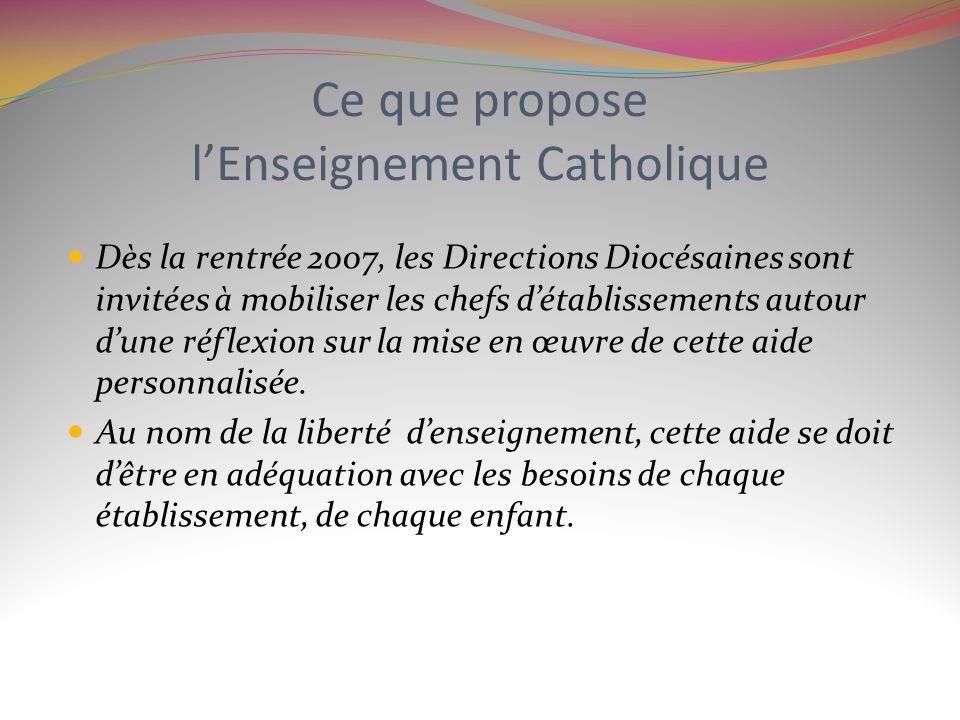 Ce que propose lEnseignement Catholique Dès la rentrée 2007, les Directions Diocésaines sont invitées à mobiliser les chefs détablissements autour dun
