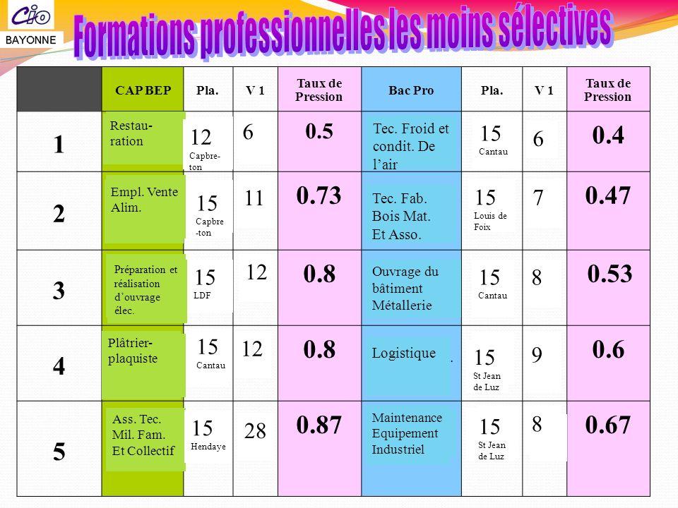 CAP BEPPla.V 1 Taux de Pression Bac ProPla.V 1 Taux de Pression 1 Conduite Syt. Indus. 15 Tarnos 0.5 Elec.Energ.Eq. Com. 15 Navarre 40.4 2 Restaurant
