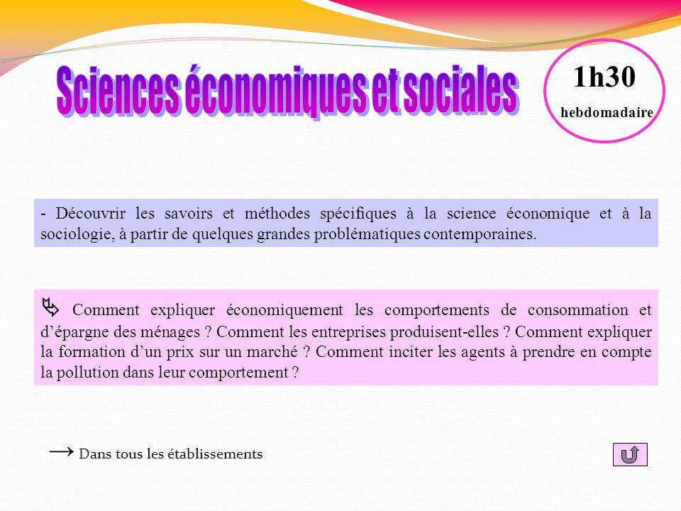 - Découvrir les savoirs et méthodes spécifiques à la science économique et à la sociologie, à partir de quelques grandes problématiques contemporaines
