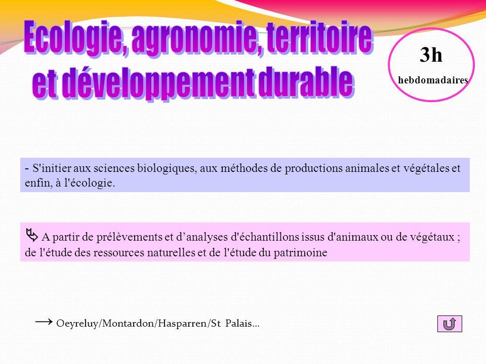 - S'initier aux sciences biologiques, aux méthodes de productions animales et végétales et enfin, à l'écologie. A partir de prélèvements et danalyses