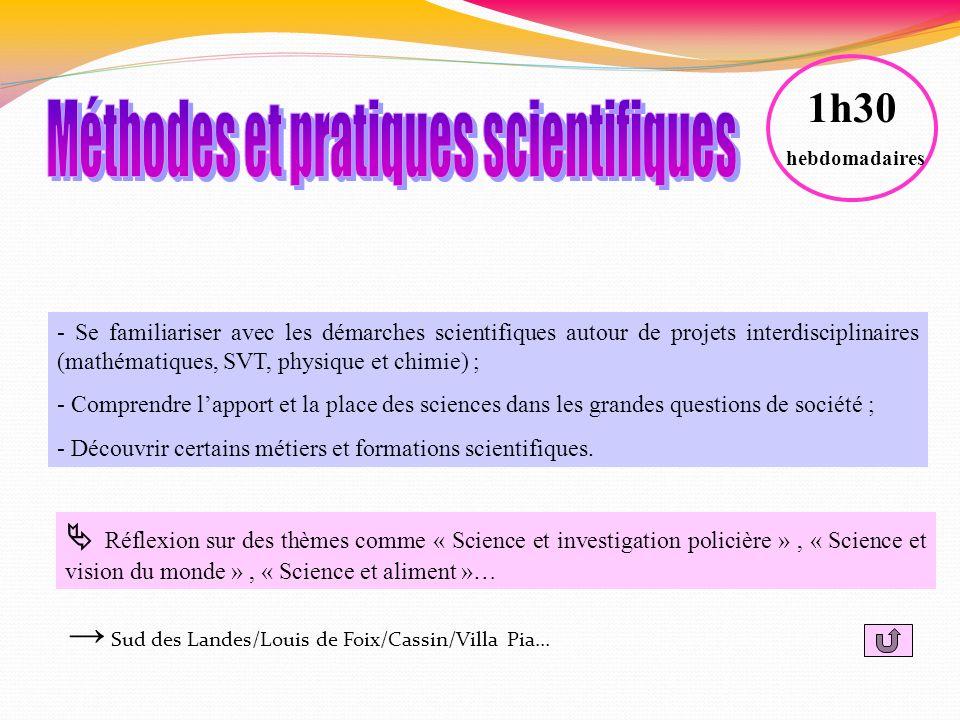 - Se familiariser avec les démarches scientifiques autour de projets interdisciplinaires (mathématiques, SVT, physique et chimie) ; - Comprendre lappo